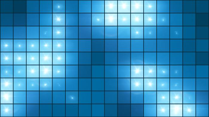 'Mosaic Light Show Blue' - Illuminated Pixel Grid Motion Background Loop-Sample3